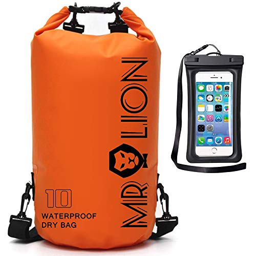 Waterproof Dry Bag - Roll Top Dry Compression Sack Keeps Gear Dry for Kayaking, Beach, Rafting, Boating, Hiking, Camping, Swimming, Floating and Fishing with Waterproof Phone Case (Orange, 15L)