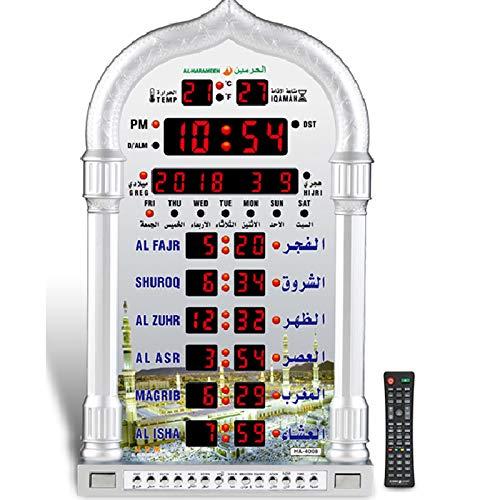 AL-HARAMEEN Azan Prayer Clock,Led Wall Clock Read Home/Office/Mosque Digital Azan Clock/Decorative Clock HA-4008 (Gray) (Silvery)