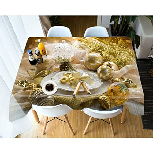 AMON LL Kerst Decor Tafelkleed Rechthoekig, Tafelkleed 3D Goud Ballon Tafelkleed Verjaardag Feestdiner voor Home Decoratie
