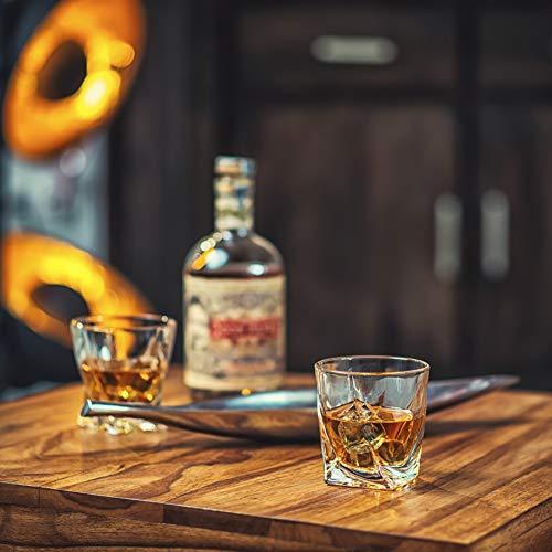 Amerigo Premium Whisky Gläser 4-teiliges Set Geschenkbox - Twist Whisky Gläser für Scotch, Bourbon & altmodische Cocktails (340ml) - Whisky-Geschenk für Männer - Vatertagsgeschenk - Bar-Set - 3