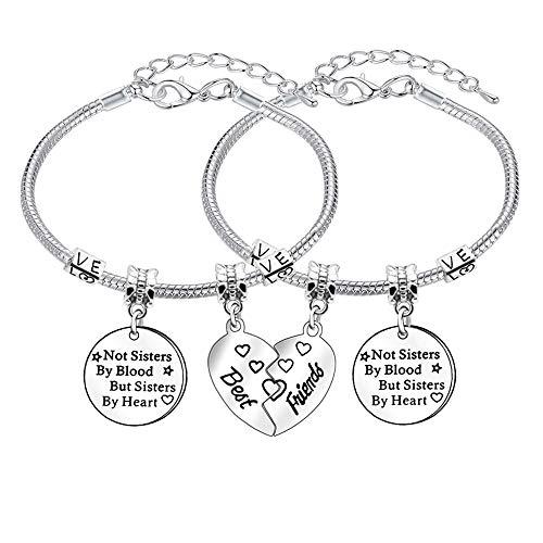 2pcs Best Friend Bracelets Charm Adjustable Bracelet Bangle for Women Girl BFF Friendship Gift