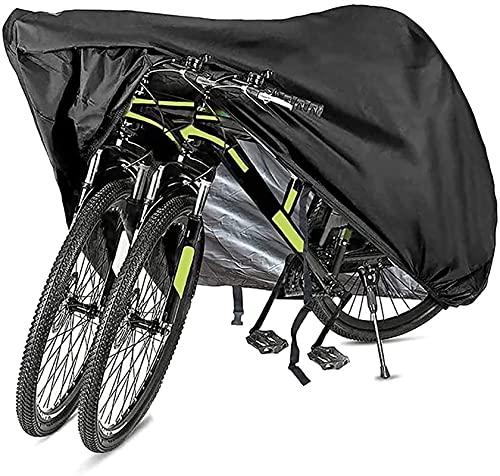 Funda Bicicleta Exterior Impermeable Cubierta de bicicleta impermeable, sol de la lluvia de bicicleta 210D UV Polvo de viento a prueba de viento para MTB Bicicleta eléctrica de carretera para 2 bicicl