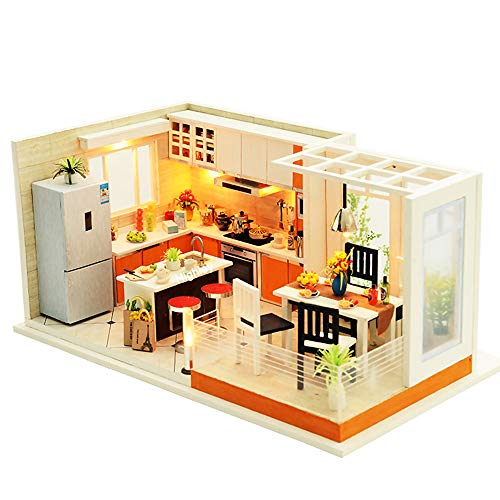Spilay Dollhouse Miniature with Furniture,DIY Dollhouse Kit Mini Modern Kitchen Home Model with Music Box ,1:24 Scale 3D Puzzle Creative Room Toys Best Christmas Birthday Gift for Lovers and Children