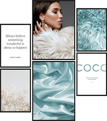 Papierschmiede Juego de pósteres Coco Blue Furry | 6 imágenes como elegante decoración de pared | 2 DIN A4 y 4 DIN A5 | pelo azul de seda mujer – sin marco
