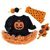 Harpily Halloween Bambina Tutina Neonato 0-2 Anni Body Neonata Bambina Cotone Tutu Vestito Stampa Zucca +Cerchietto per Capelli+ Scarpe+ Calza (12-24 Mesi)