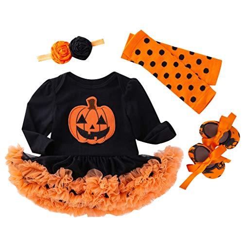 Riou Kinder Halloween Kostüm Top Set Baby Kleidung Set Kleinkind Kinder Baby Mädchen Kürbis Striped Print Langarm Halloween Kleid + Stirnbänder gesetzt Skelett (59, Orange B)