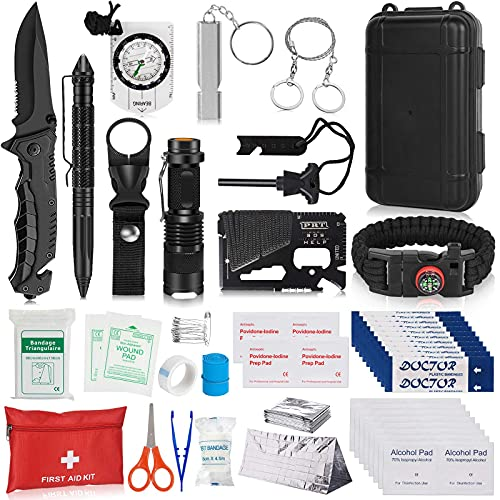 Napasa Survival Kit 54 in 1 Professional Survival Gear Tool Emergency Tactical First Aid Equipment Supplies Kits for Men Women Families Hiking Camping Adventures