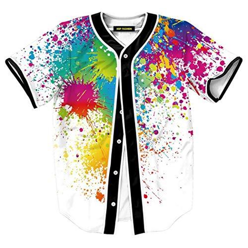 HOP FASHION Womens 90s Theme Birthday Party Baseball Jersey Short Sleeve Splatter Colorful Print Dance Team Uniform Shirts HOPM007-130-XXXL