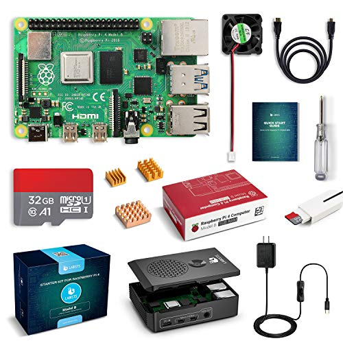 LABISTS Raspberry Pi 4 Complete Starter Kit with Pi 4 Model B 1GB RAM Board, 32GB Micro SD Card Preloaded Noobs, 5V 3A Power Supply, Case, HDMI Cable, SD Card Reader (USB A&USB C), Fan, Heatsinks