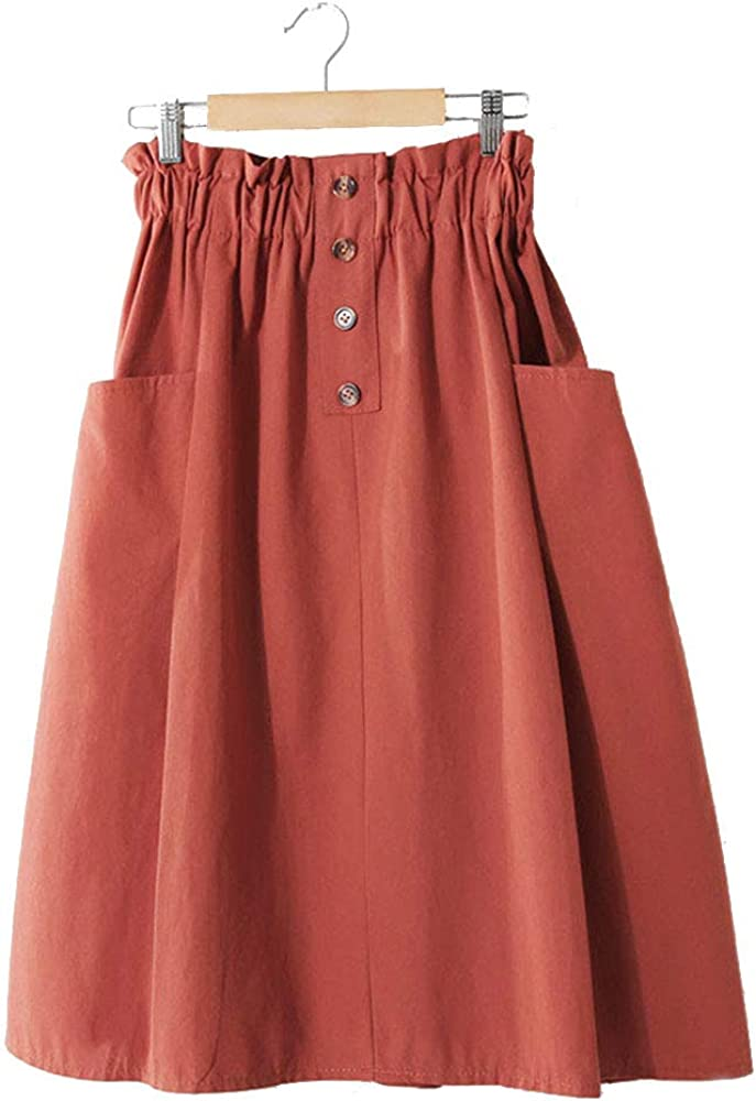 VELWINGS Women's Fashion Casual High Waist Pleated A-Line Midi Skirt with Double Pocket for Summer