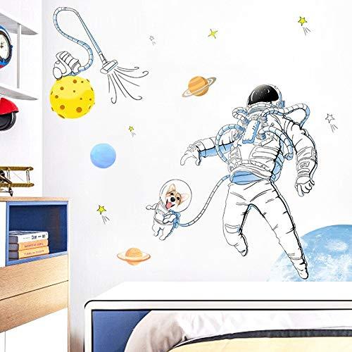 Pegatinas de pared con espacio para perros, calcomanías de decoración de pared para habitación de niños, papel tapiz de vinilo de astronauta, póster para decoración del hogar, Mural artístico