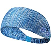 SUNVITO Workout Headbands with Buttons (Blue)
