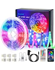 TVLIVE Tiras LED, Bluetooth Luces LED Habitación 5M 5050 RGB con Control Remoto y Controlador, Sincronización Musical, 16 Millones de Colores 28 Modos TV, Salón, Dormitorio etc.
