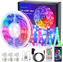 TVLIVE LED Strip, RGB LED Streifen 5m/15m, Farbwechsel LED Lichterkette mit Fernbedienung, App-steuerung, 16 Mio. Farben,...