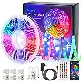 Tiras LED, TVLIVE Bluetooth Luces LED Habitación 5M 5050 RGB, Controladas por APP, IR Control Remoto, Sincronización Musical, 16 Millones de Colores 28 Modos Perfecto para TV, Salón, Dormitorio etc.