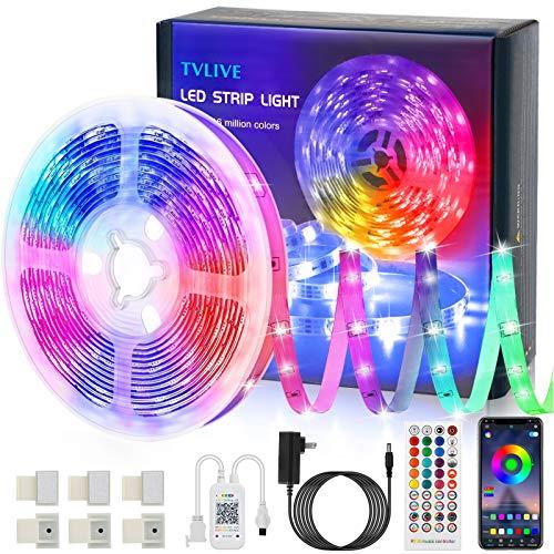 TVLIVE LED Strip, RGB LED Streifen 5m/15m, Farbwechsel LED Lichterkette mit Fernbedienung, App-steuerung, 16 Mio. Farben, Sync mit Musik, LED Band für Schlafzimmer Küche Zuhause Schrankdek