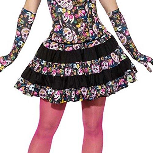 Amakando Falda Día de los Muertos Falda Calaveras Sexy M 38/40 Minifalda Calavera Vestido La Catrina Outfit Halloween Fiesta Mexicana Ropa Mujer Sugar Skull