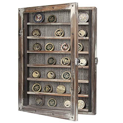 J JACKCUBE DESIGN Wall Mount Coin Display Rack - MK614A (Rustic Wood)