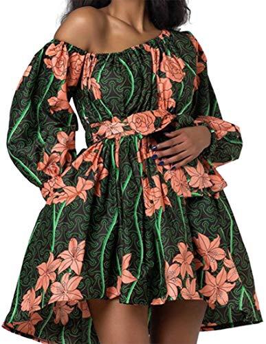 OLIPHEE Vestiti Causuale Disegno di Stile Etnica Manica della Lanterna per Donna e Ragazze LV Large