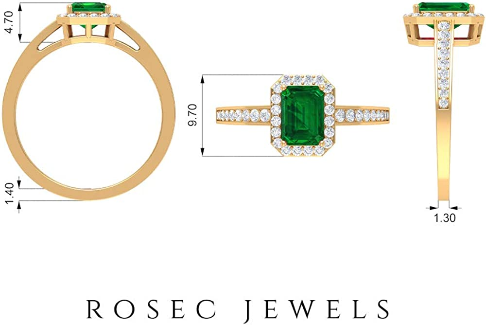 Lab Created Emerald and Diamond Ring 1.27 CT, Halo Ring with Side Stones, Gold Engagement Ring (7X5 MM Octagon Cut Lab Created Emerald), 14K Gold