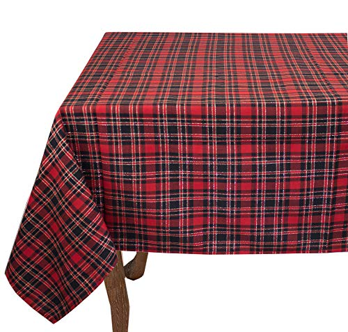 """Fennco styles Highland Holiday design rosso e nero plaid tovaglia, Poliestere e misto poliestere, Red, 70\""""x70\"""" Tablecloth"""