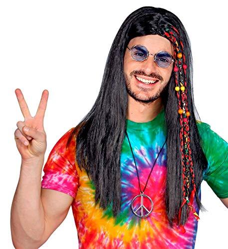 shoperama Peluca unisex, color marrón/negro, con trenzas y perlas para los años 60, hippie indios o piratas