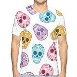 NAA Hombres de Patrones sin Fisuras Mexican Day Dead Sugar Camiseta Deportiva para Hombres, Camisas para Hombres con Corte clásico