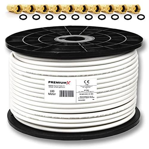 """PremiumX PROFI 100m Koaxial Kabel 130 dB 4-Fach geschirmt, REINES KUPFER SAT Antennenkabel 100 m 130 120 110 + 10 F-Stecker 7,5mm in Farbe \""""Gold\"""" GRATIS DAZU (0,28€/M)"""