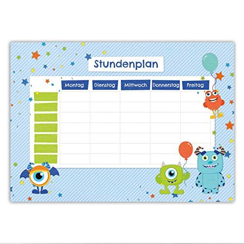 Papierdrachen Stundenplan DIN A5 Block - Motiv Monster - beschreibbar Schule - Terminkalender und Wochenplan