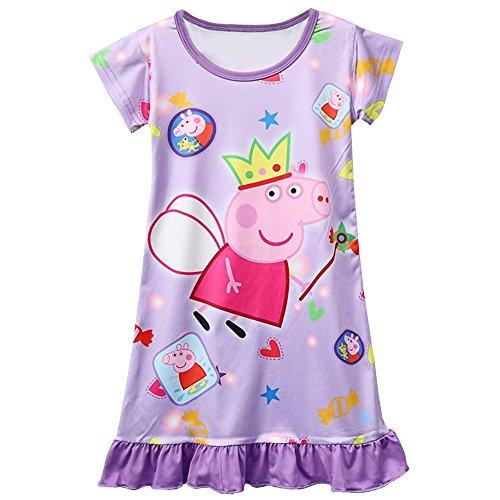 Moebao Pig Pattern Dress with Girls' Skirt, Nightgown 3y - 8y, Purple, 4T