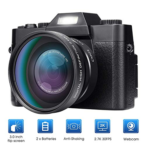 PBQWER Cámara Digital Vlogging Camera para Youtube Grabadora De Video Cámara De Video De 30MP Rotación De 180 Grados Pantalla LCD Zoom Digital De 16X Lente Intercambiable