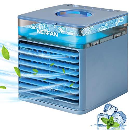 GHONLZIN Mobile Klimageräte, Mini Air Cooler, 4 in 1 Klimaanlage, Luftbefeuchter und Luftreiniger, USB Mini Luftkühler mit Wassertank, 7 LED-Leuchten für Zuhause und Büro