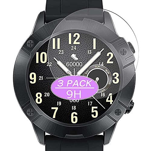 VacFun 3 Piezas Vidrio Templado Protector de Pantalla, compatible con CUBOT N1 1.28' smart watch smartwatch, 9H Cristal Screen Protector Protectora (Not Funda Carcasa)