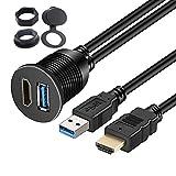 車用 HDMI&USB3.0 延長パネル USB3.0入力ポート&HDMI入力ポート オーディオ中継 オーディオパーツ 防水ケーブル ダッシュボードキッ(2メートル)