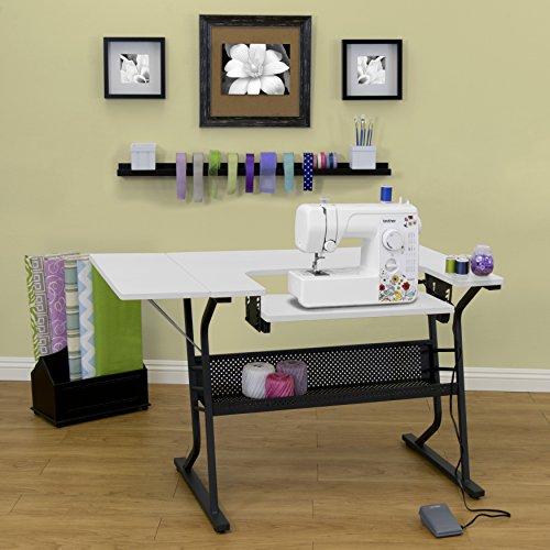 [US Stock] Anbeaut Home Indoor Adjustable Platform Sewing Machine Table Computer Desktop (Black White)