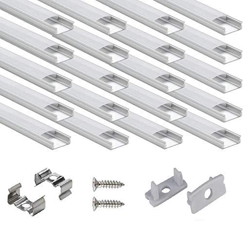 40 × 1M LED Schiene Aluprofil, StarlandLed 40-Pack LED-Aluminium Profil U-Form mit Abdeckung, Endkappen und Montageclips für LED-Streifen-Lichter …