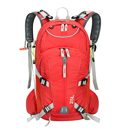 Sac à dos d'équitation de sac à dos de vélo 25L occasionnels, camping, randonnée, marathon, sac à dos en nylon imperméable de sac à dos d'alpinisme avec la couverture de pluie ( Couleur : Rouge )