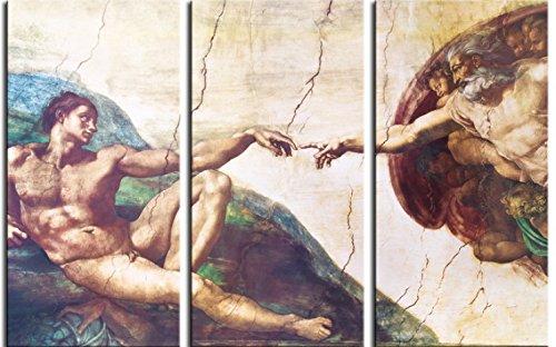 1art1 Michelangelo Buonarroti - Die Erschaffung Adams, 1508-1512, 3-Teilig Bilder Leinwand-Bild Auf Keilrahmen | XXL-Wandbild Poster Kunstdruck Als Leinwandbild 180 x 120 cm