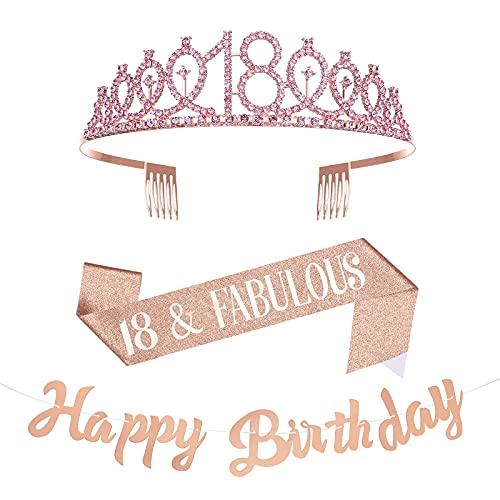 Taumie 18 Anni di Compleanno Corona, Cristallo Strass Tiara Donna, Corona per Compleanno 18, Compleanno Sash, Striscioni Compleanno, Feste di Compleanno Ragazza Glitter Décor