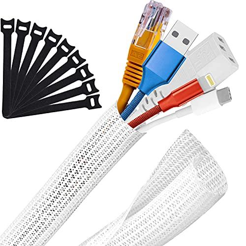 MOSOTECH Organizador Cables, 2X 1,6m Cubre Cables Expandible, Diámetro Ajustable de 8...
