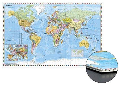 Weltkarte zum Pinnen auf Wabenplatte