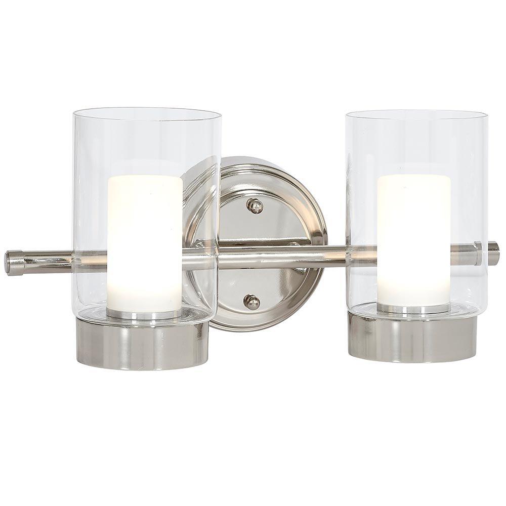 抛光镍蜡烛灯具  玻璃环绕 LED 照明灯具  梳妆台、卧室或浴室  室内照明 银色 Double Light HH1115-L