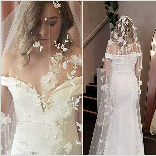 weichuang Velo de novia con apliques de velo de boda, flores 3D, perlas velos de novia, longitud de capilla, velos de novia, accesorios de boda velo de novia (color: marfil)