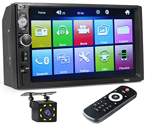 Double Din Car Stereo Receivers, 7 inch Touch Screen MP5 MP4 MP3 Multimedia Player, Bluetooth Audio,FM Radio,USB/SD/AUX Input,Mirror Link, Support Android and iOS, with 8 LED Rear View Camera