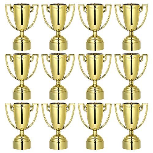 Toyvian Award Pokal Goldene Trophäe Gewinner Plastik Pokale Geschenk für Kindergeburtstag Party 12 Stücke