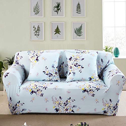 NIASGQW Funda para Sofá Elasticas de 3 Plazas -Lmpresión Floral Fundas Decorativas para sofás(Gratis 2 Funda de Cojines) Universal Muebles Fundas Decorativas para Sofás -Pastoral Azul