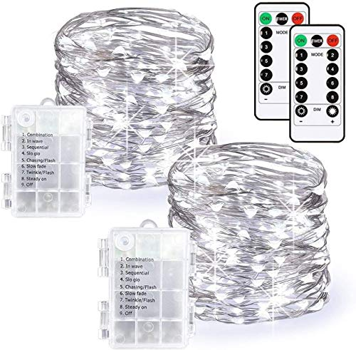 KRY LED Fairy Lights Battery Operated String Lights 8 Modes 33ft 100 Led Waterproof Copper Wire Lights with Remote and Timer for Christmas Party Wedding Garden Bedroom Outdoor(Cool White, 2 Pack)