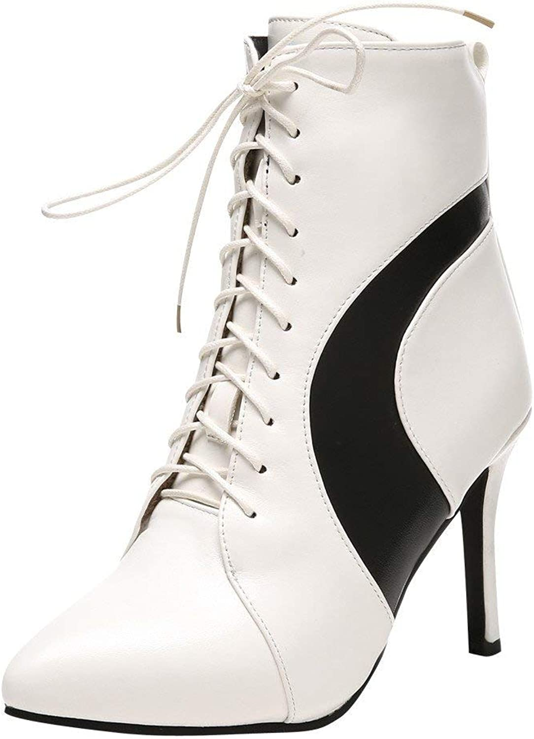 Gedigits Women's Lace Up Multicolord High Heel Short Boots White 6 M US
