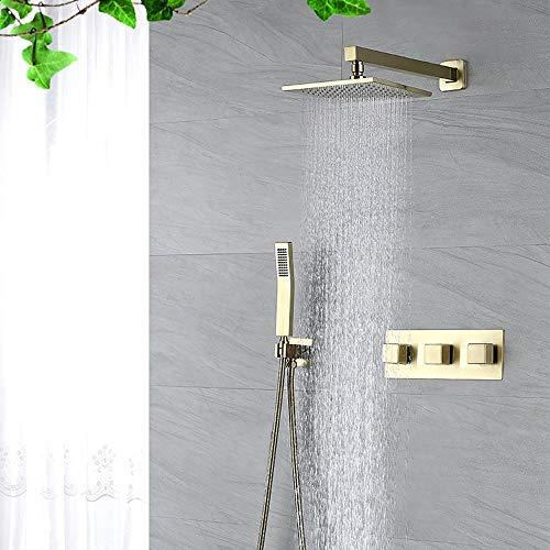 ALYHYB Sistema de Ducha con Grifo - Cabezal de Ducha de Alta presión de 8 Pulgadas para Flujo de Agua Baja y duchas de presión con Boquilla de Silicona Anti-obstrucción: ecológico (válvula incluida)