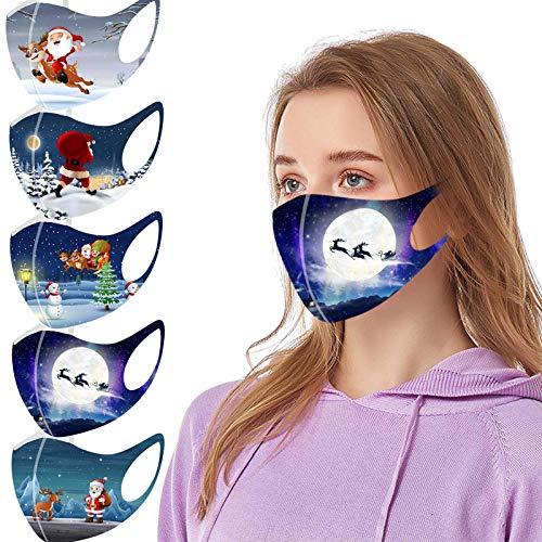 riou 5 Stücke Mundschutz mit Motiv Waschbar Baumwolle Atmungsaktive Staubdicht Mund und Nasenschutz Face Covering für Damen Herren (Z-19)